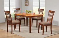 Delfini 5pc Extension Leaf Dining Set Fruitwood