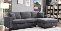 Avril Fabric Right Hand Facing Double Sofa Bed Sectional with Storage Grey