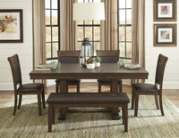 Sybil 6pc Extension Leaf Dining Set with Bench