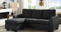 Elsa Fabric Reversible Sectional Grey