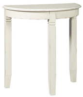 Birchatta Half Moon Accent Table White
