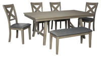 Aldwin 6 Piece Dining Set with Bench