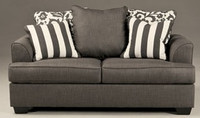 Devon Fabric Loveseat Grey