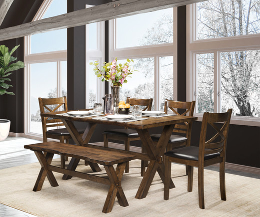 Raven Large 6 Piece Dining Set with Bench