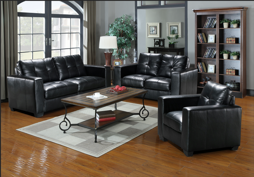 Piper Gel Leather Loveseat Black