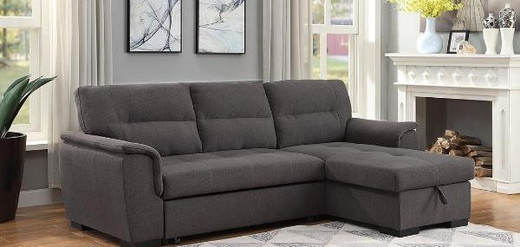 Mackenzie Fabric Reversible Double Sofa Bed with Storage Grey