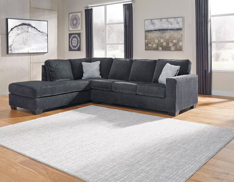 Grey left facing sectional sofa bed with memory foam mattress