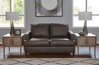 Carter Genuine Leather Love seat Grey