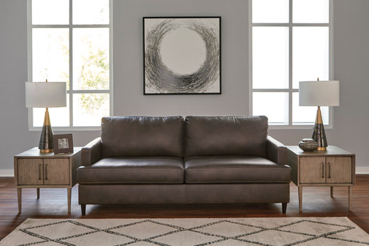 Carter Genuine Leather Sofa Grey