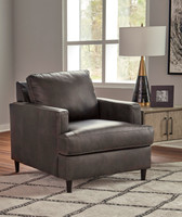 Carter Genuine Leather Chair Grey