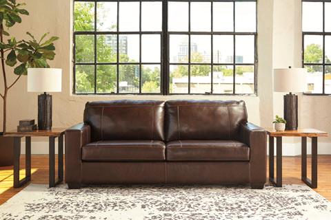 Logan Genuine Leather Sofa Bed Brown
