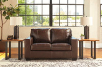 Logan Genuine Leather Love Seat Brown