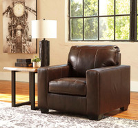 Logan Genuine Leather Chair Brown