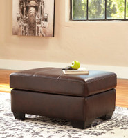 Logan Genuine Leather Ottoman Brown