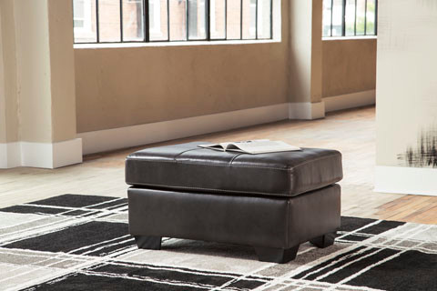 Logan Genuine Leather Ottoman Grey