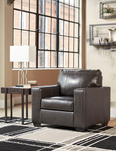 Logan Genuine Leather Chair Grey
