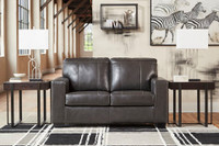 Logan Genuine Leather Love Seat Grey
