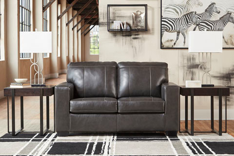 Logan Genuine Leather Love Seat Grey