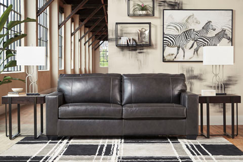 Logan Genuine Leather Sofa Grey
