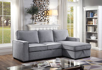 Bali Fabric Reversible Double Sofa Bed with Storage Grey
