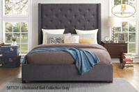 LANDON Storage Queen Bed Frame w/Slats Grey