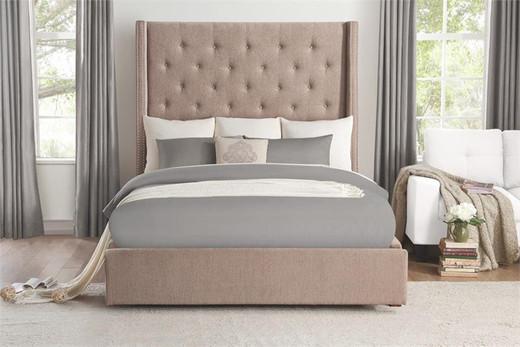 LANDON Storage Queen Bed Frame w/Slats Beige