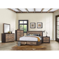 CORAl Queen Storage Bed Frame w/Slats Brown
