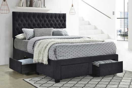 ROMAN Storage Queen Bed Frame w/Slats Grey