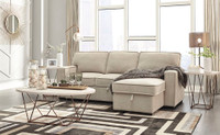 Bali Fabric RHF Sofa Bed Sectional With Storage and USB Ports Beige