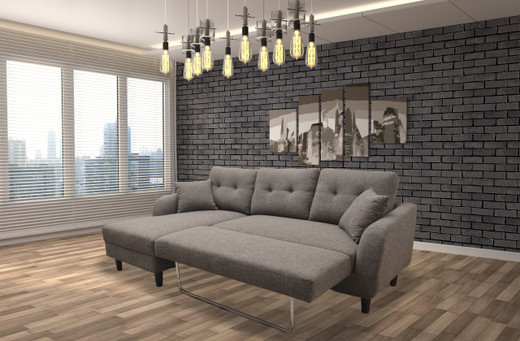 Nova Fabric Left Hand Facing Sectional Sofa Bed Grey