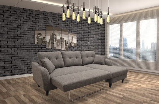 Nova Fabric Right Hand Facing Sectional Sofa Bed Grey