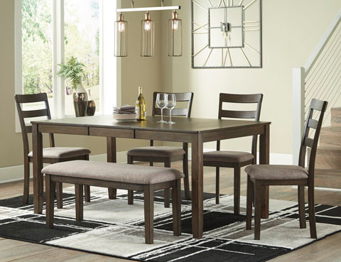 Drew  6 Piece Dining Set with Bench