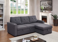 Eden Fabric Reversible Double Sofa Bed with Storage Grey
