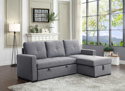 Lara Fabric Reversible Double Sofa Bed With Storage Grey
