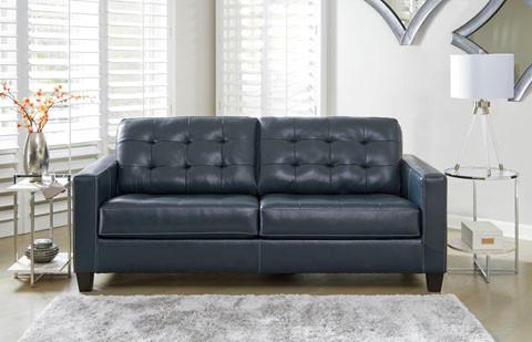 Anthony Genuine Leather Sofa Blue