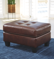 Anthony Genuine Leather Ottoman Walnut