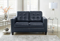 Anthony Genuine Leather Loveseat Blue