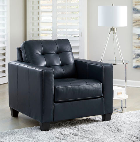 Anthony Genuine Leather Chair Blue