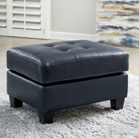 Anthony Genuine Leather Ottoman Blue