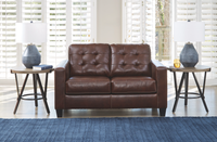 Anthony Genuine Leather Loveseat Walnut