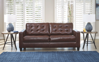 Anthony Genuine Leather Sofa Walnut