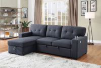 Larry Fabric Reversible Double Sofa Bed With Storage