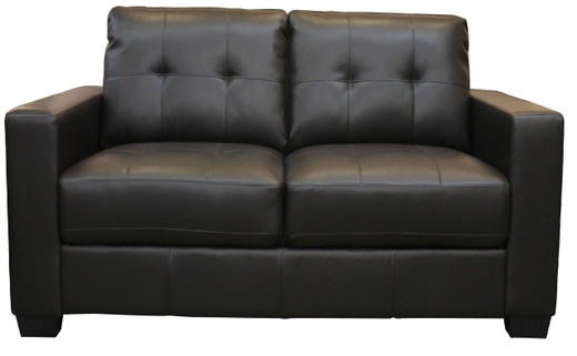 Lacey Bonded Leather Loveseat Black