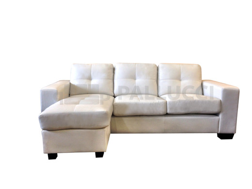 Lacey Sectional White 100% Bonded Leather (Left Facing Chaise)