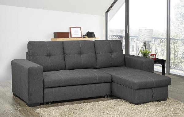 Aspen Fabric Reversible Double Sofa Bed With Storage Grey Pallucci