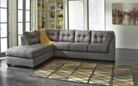 Carlos Fabric Left Facing Double Sofa Bed Grey