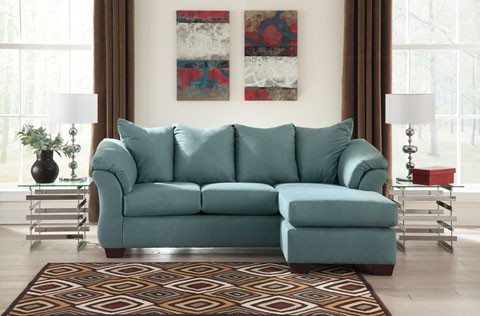 Madison Fabric Reversible Sectional Sky
