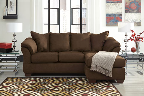 Madison Fabric Reversible Sectional Cafe