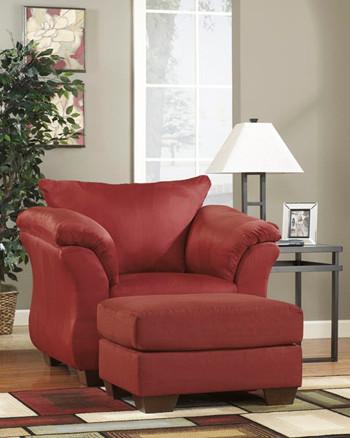 Madison Fabric Ottoman Red