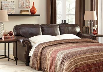 Darla Genuine Leather Sofa Bed Brown